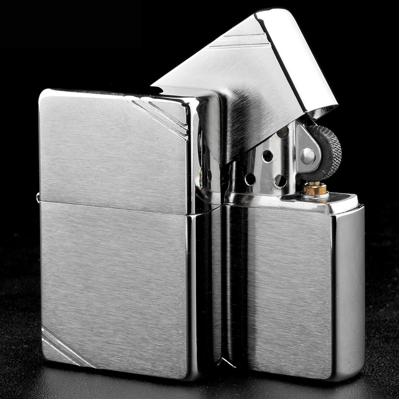 Genuine zippo lighter 1937 classic classical engraved brushed chrome surface cutaway zippo genuine windproof men