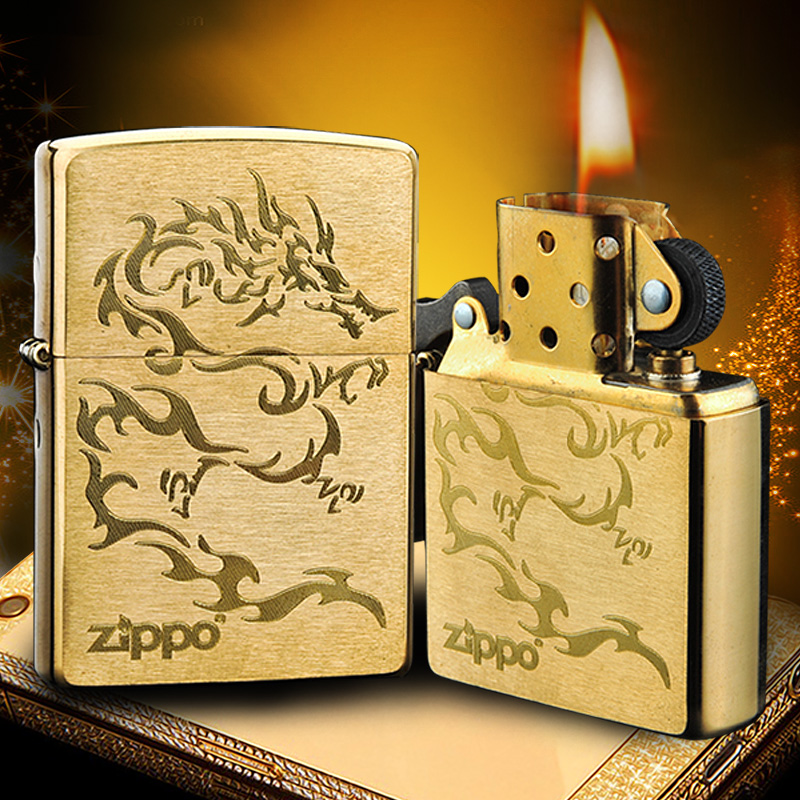 Genuine zippo lighter brushed copper kerosene windproof zippo male dragon totem us limited edition zppo