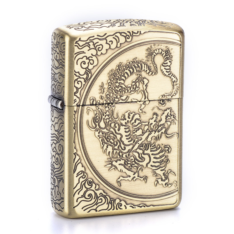 Genuine zippo lighters ZBT-3-33 five face carved clouds dragon zippo genuine flagship store