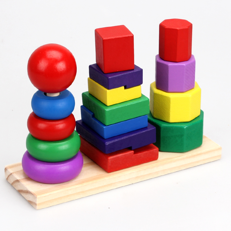 Geometry of the building blocks of children's educational wooden three column rainbow tower piles tower piles high piles of wooden toys early childhood