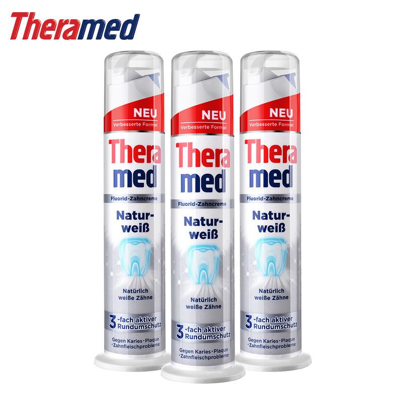 German imports henkel theramed vertical prebrushing silver whitening toothpaste 100 ml * 3 sticks shipping