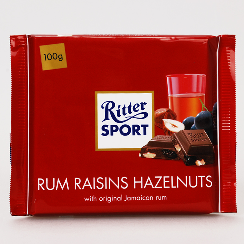 German imports ritter sport瑞特斯波德sports rum raisin hazelnut milk chocolate sandwich