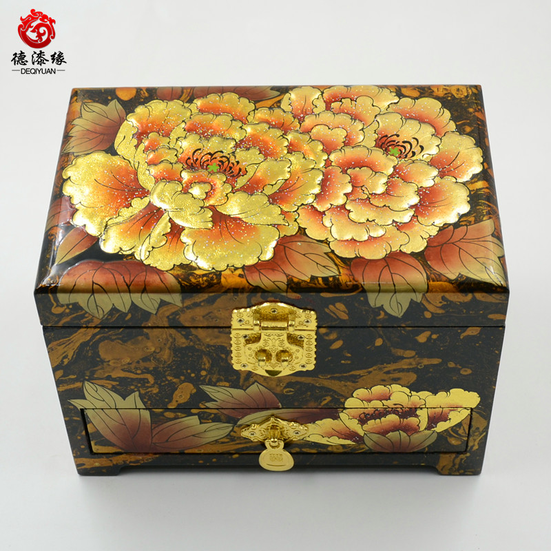 Germany edge pingyao push light lacquer jewelry box floating paint lacquer paint technology becomes golden peony with three drawers 21 cm