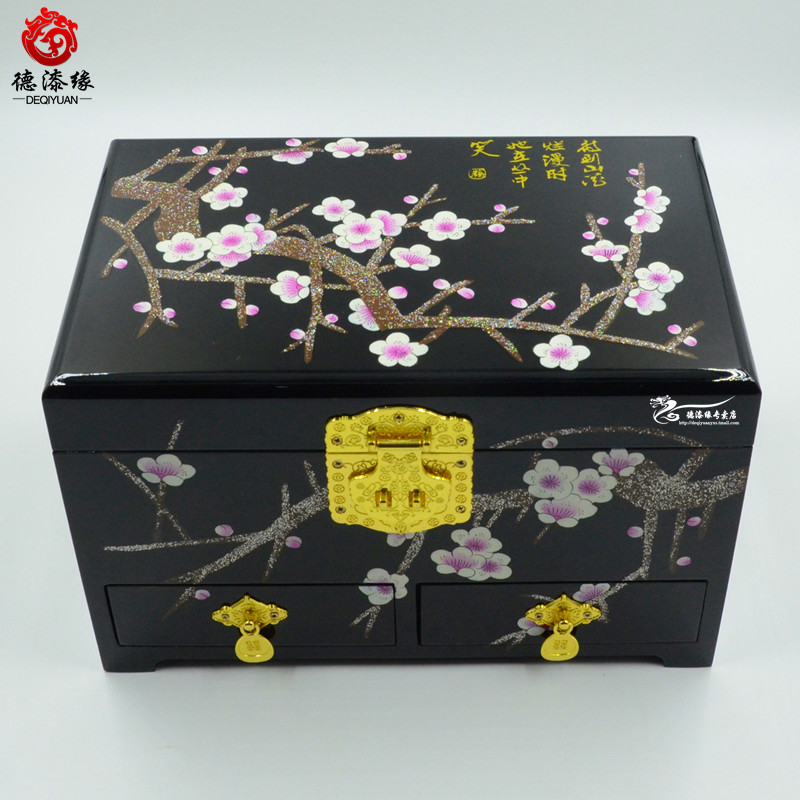 Germany edge pingyao push light lacquer jewelry box jewelry box jewelry box black plum with three drawers 28 Cm