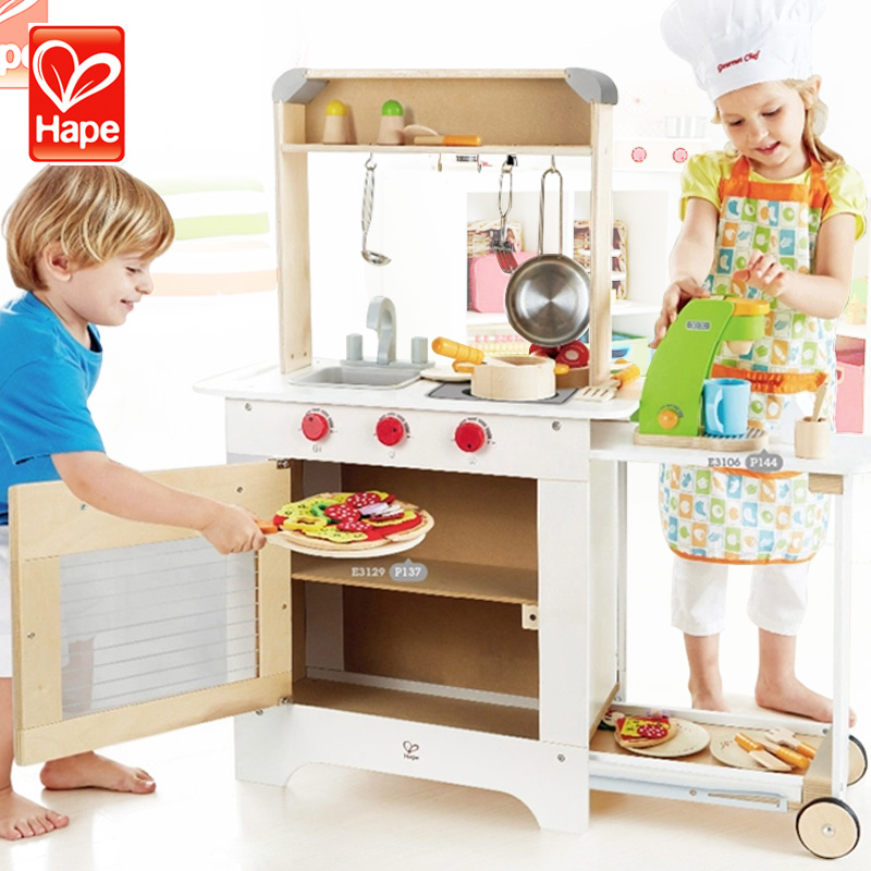 Germany hape multifunctional kitchen diner visualization can move high simulation play house children's educational wooden toys