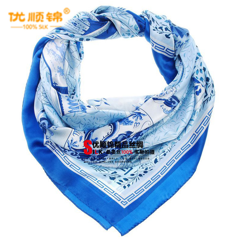 Gifted kam genuine female models silk scarf silk scarf large square silk scarf ms. national wind characteristics blue and white