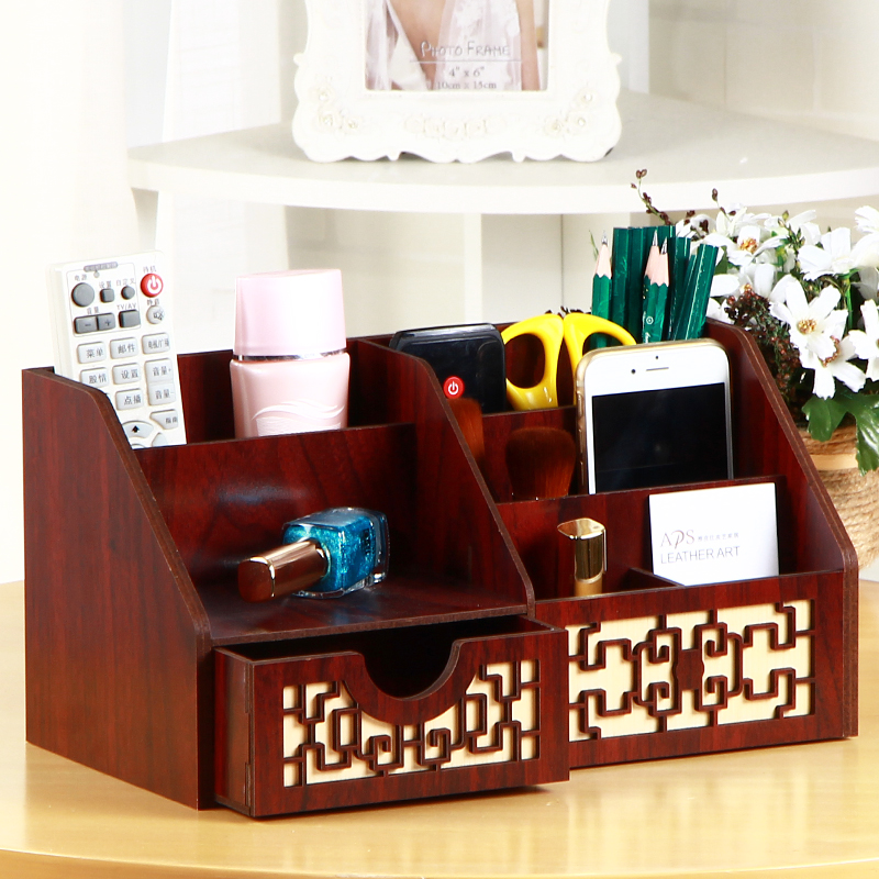 Gifted peng multifunction wood shelving office supplies pen creative fashion office supplies desktop storage box