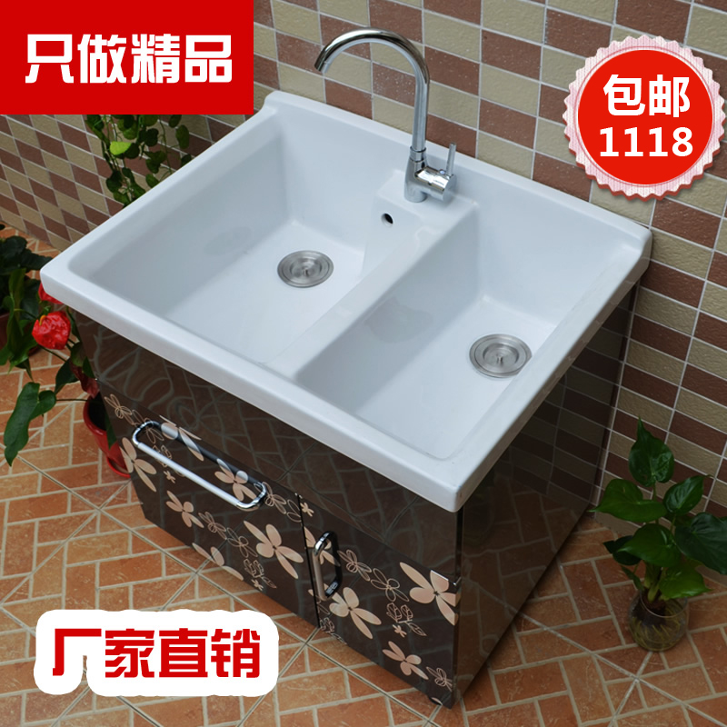 Ginger sub 80CM double basin stainless steel bathroom cabinet bathroom cabinet wash basin floor cabinet washbasin cabinet wash closet cabinet bathroom cabinet