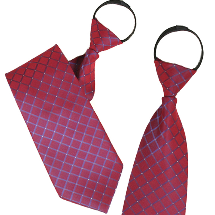 Ginllary men zipper tie easy to pull convenient tie marriage tie red plaid
