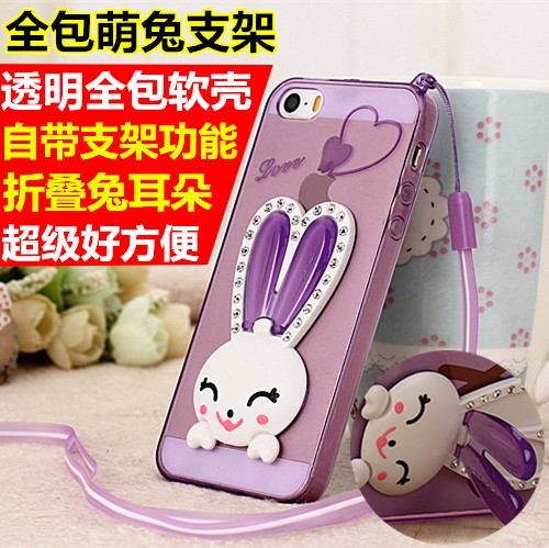 Gionee f303 f103 f105 rabbit ear phone shell mobile phone sets silicone soft shell protective sleeve with diamond lanyard