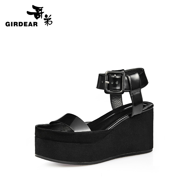 Girdear/gedi 2016 new leather open toe shoes with the word thick crust slope with cool shoes 910319