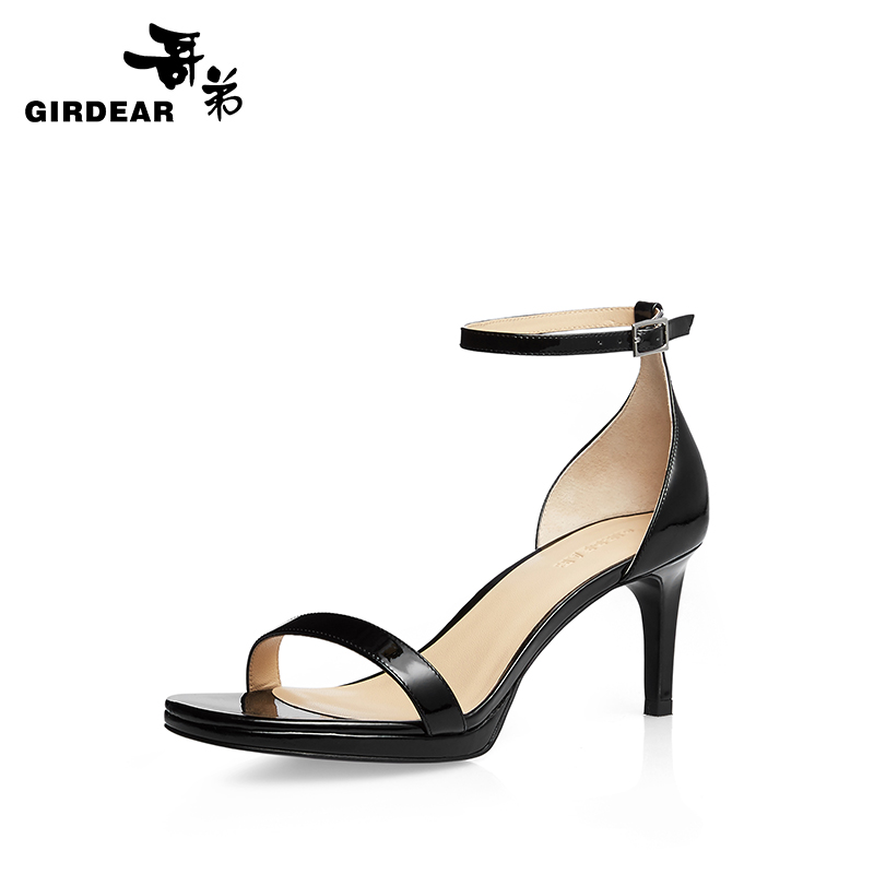 Girdear/gedi summer in fine fashion with ankle buckle cow leather open toe sandals word with shoes 910125