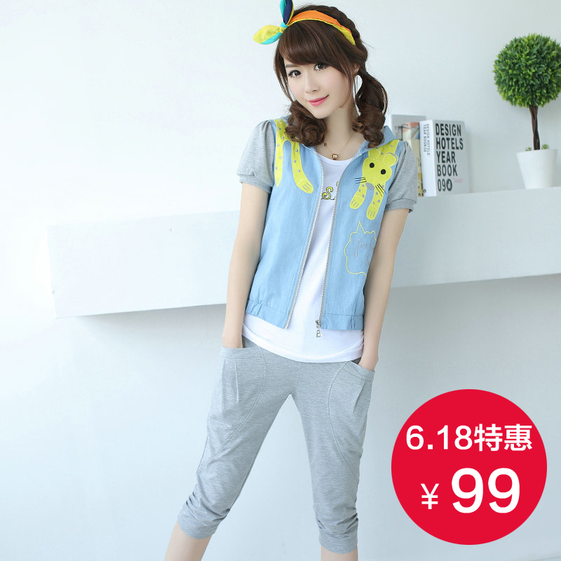 Girls big boy summer junior high school students cute short sleeve pant suit leisure suit three sets of students loaded clearance
