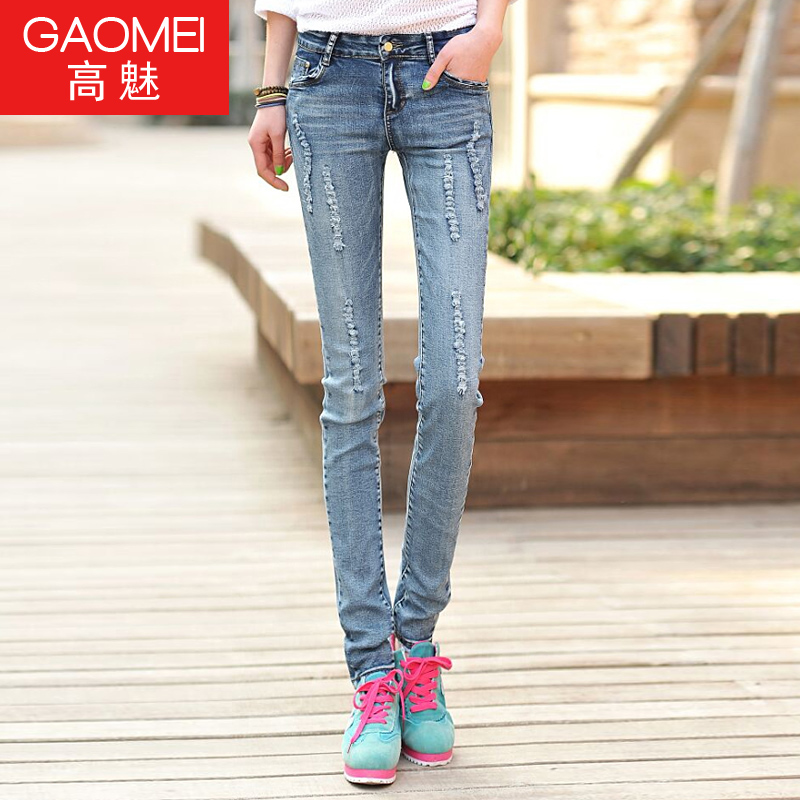 fa57a53f51e Get Quotations · Girls college wind korean version of slim waist jeans hole  washed wear white jeans pencil pants