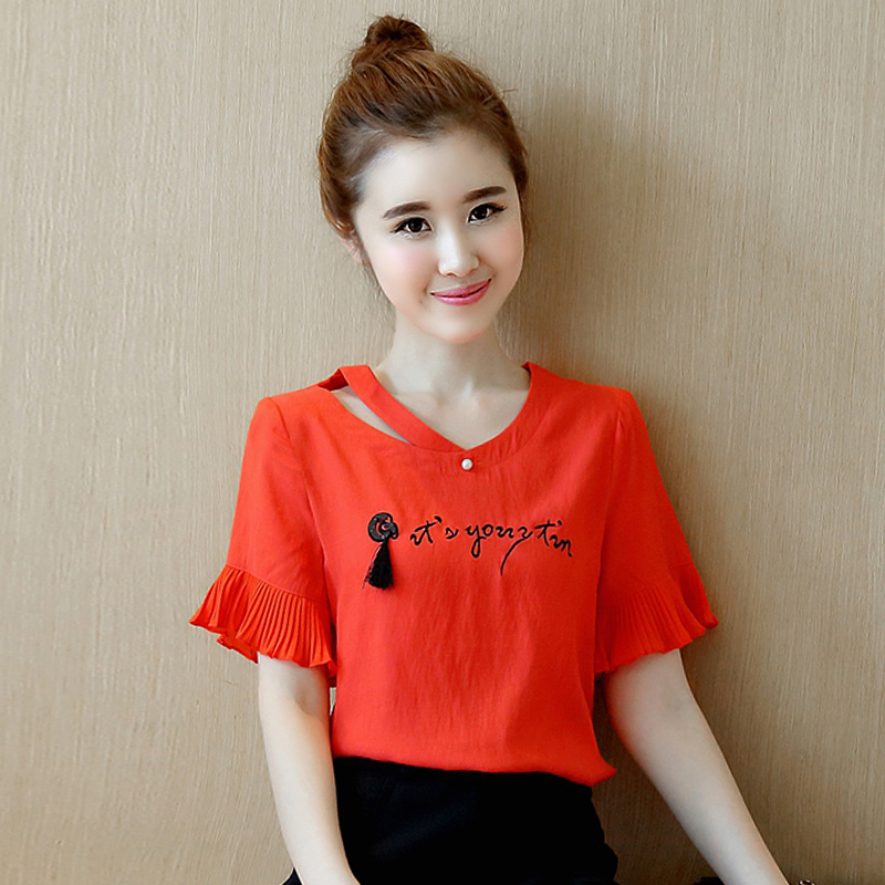 a908622dc838 Get Quotations · Girls college wind temperament was thin loose ladies  blouse summer korean fashion students cute short sleeve