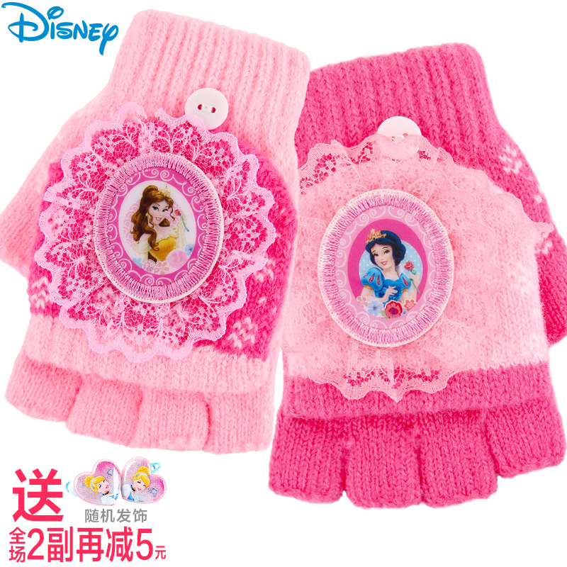 e24b63fad Get Quotations · Girls disney princess children's gloves warm winter cute  child baby wool gloves half finger fingers
