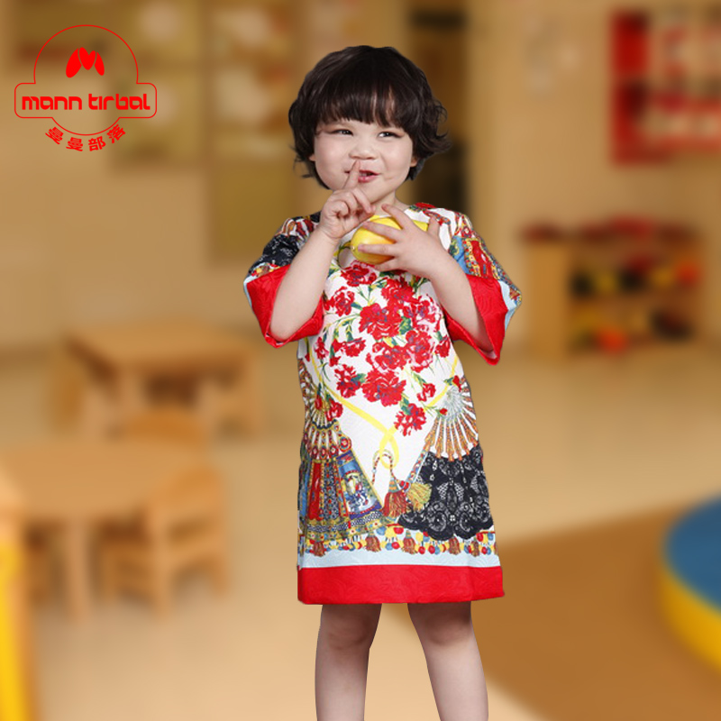 Girls spring and autumn sleeve dress european and american print dress children dress female treasure treasure female princess skirt length skirt