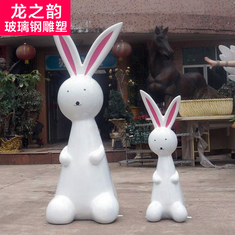 Glass and steel sculpture sculpture custom cartoon cartoon cartoon making sculpture sculpture ornaments bunnies mall