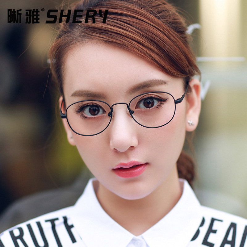 Glasses frame glasses frame influx of people retro literary college wind thin metal circular frame plain mirror frames little face with almost as Female