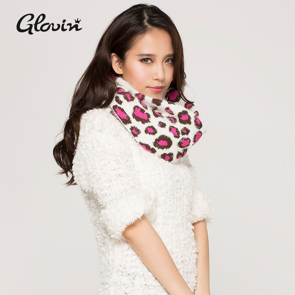 Glovin autumn and winter new korean fashion color leopard feather yarn warm autumn and winter hedging collar female