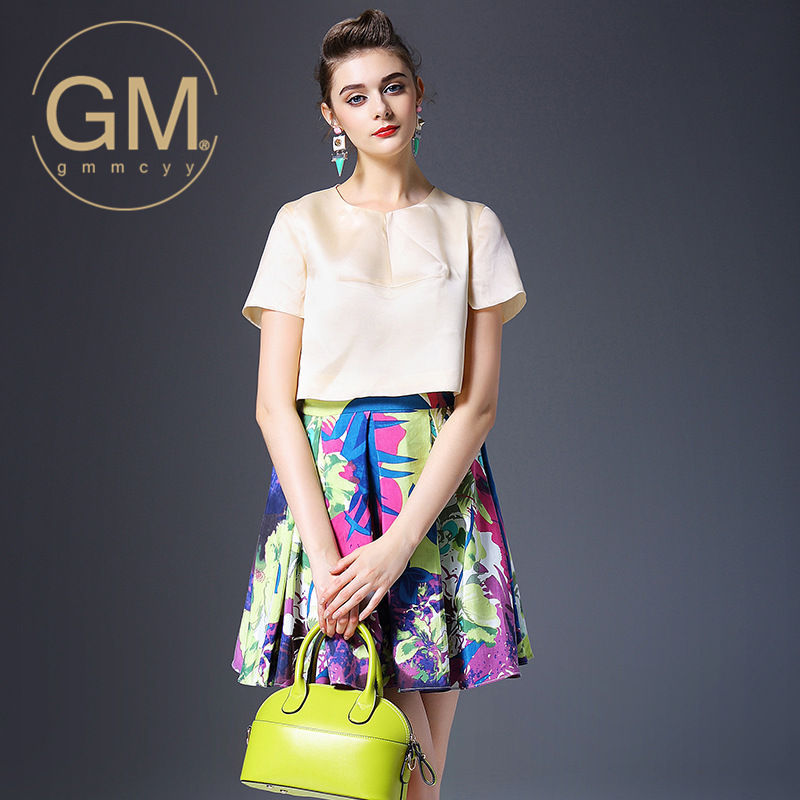 Gmmcyy printed piece europe station 2016 summer new women in europe and america fashion sleeve dress wild female 9835