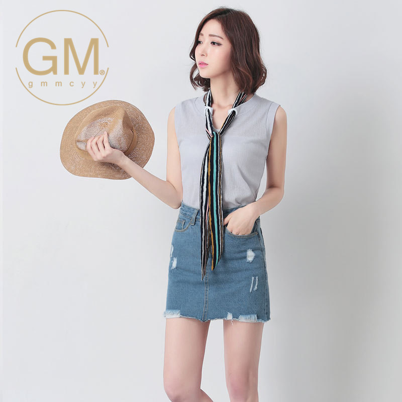 Gmmcyy summer new round neck bow tie ms. cultivating wild sleeveless shirt solid color t-shirt 5965