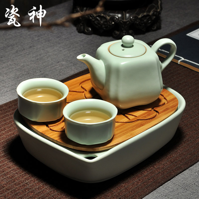 God porcelain bamboo dry tea small tea sets ru ceramic pot two cups of cheap storage tray entire cup specials