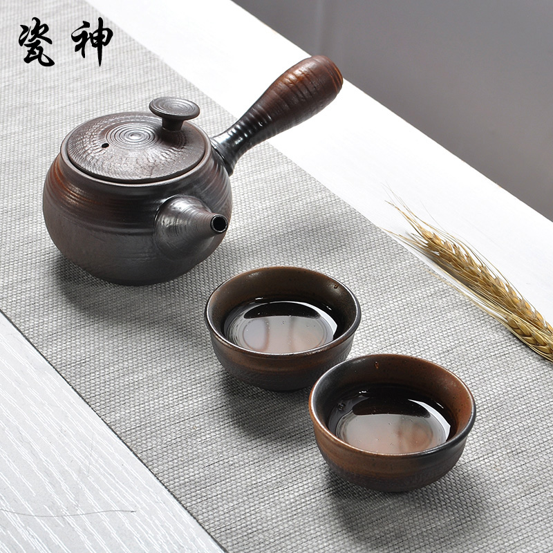 God porcelain ceramic kung fu tea firewood handmade stoneware pot two cups of tea cup special offer side of the pot suit