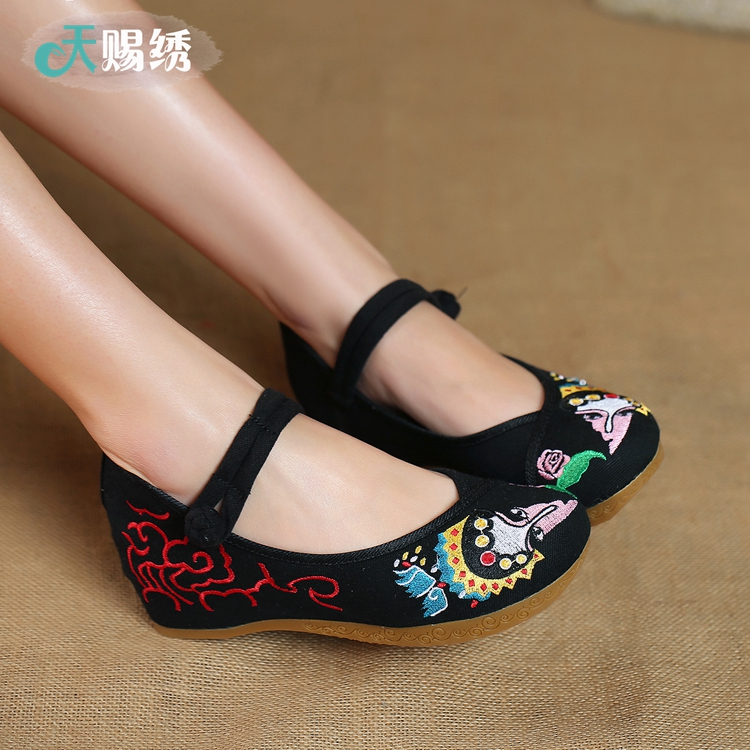 Godsend embroidered shoes old beijing woman carved face shoes dance shoes embroidered shoes increased within a single shoes tendon at the end