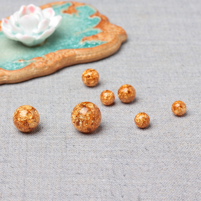 Gold foil gold beads loose beads spacer beads with bead rosary beads diy accessories handmade beaded accessories mooring/gold be