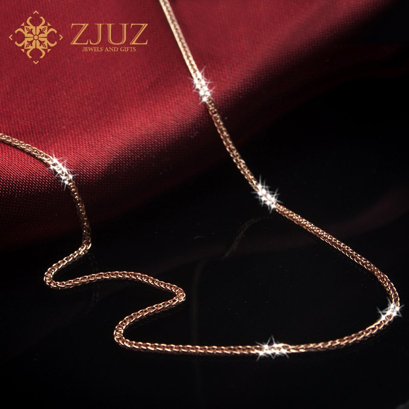 Gold necklace gold platinum rose gold pendant female ZJUZ18K chopin chain ossicular chain color gold jewelry gifts