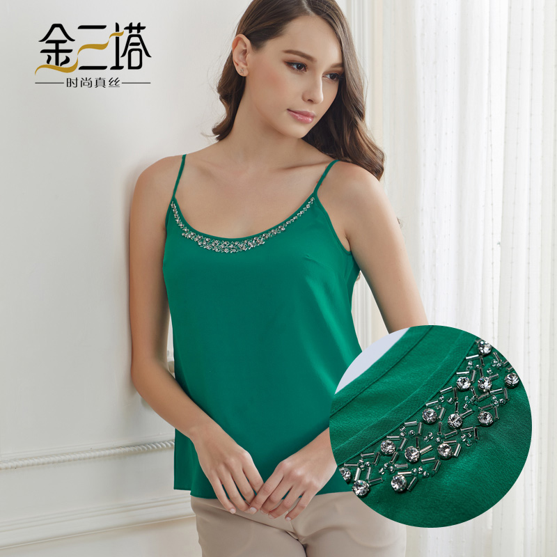 Gold three pagodas summer new 100% silk crepe de chine silk solid color beaded halter vest bottoming