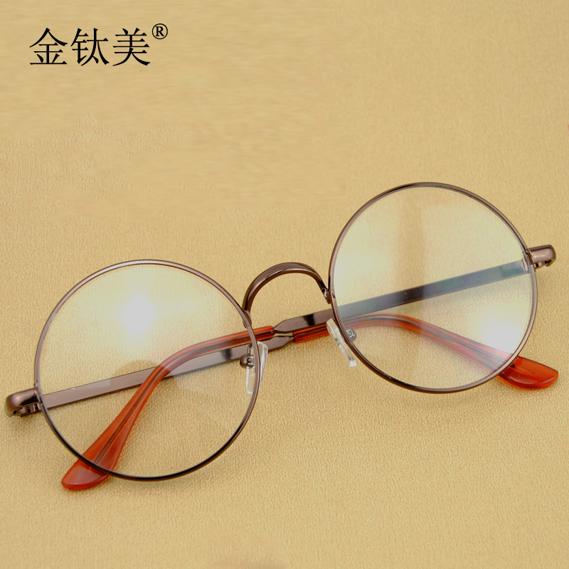 c96091156b3 Get Quotations · Gold titanium beauty young artists retro male and female  models circular metal eyeglass frame round frame