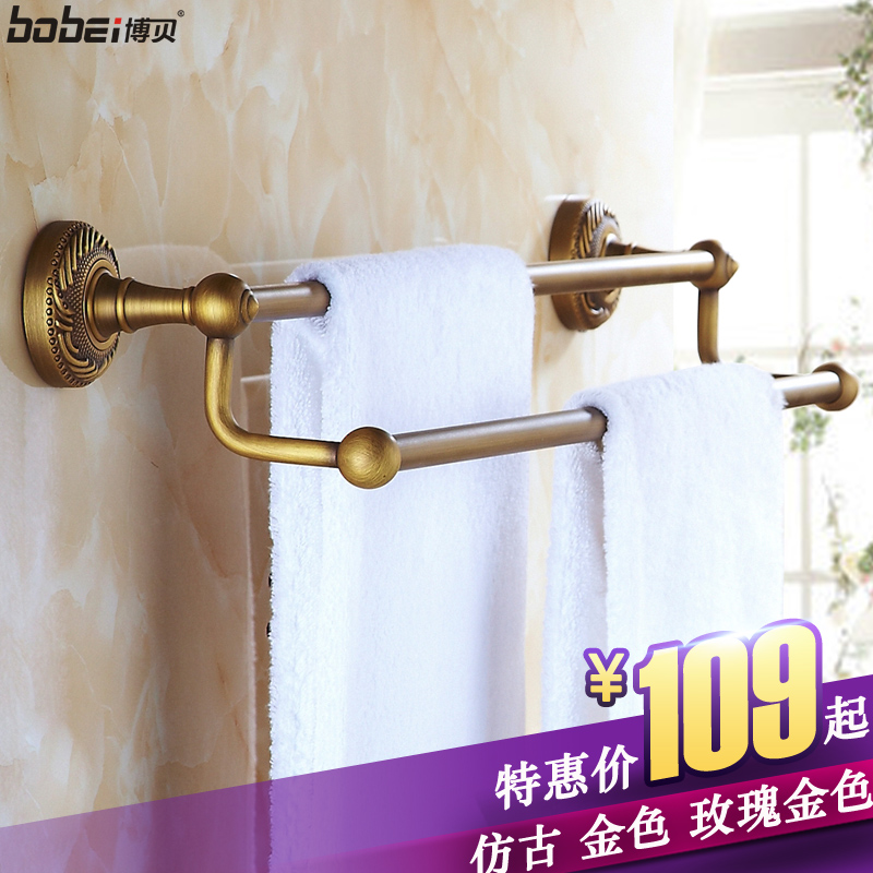 Golden double rod bathroom accessories european antique bathroom towel rack towel rack full of copper rose gold bathroom towel bar