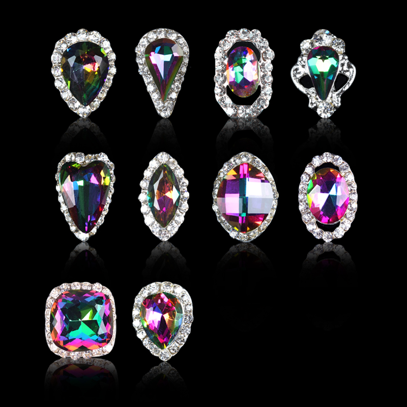 Good wyatt shaped flame flame symphony diamond nail jewelry metal diamond paste diamond mobile phone color nail polish surface accouterments