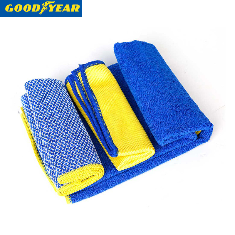Goodyear car wash towel fine fiber lint thick absorbent towel car wash cleaning cloth towel sets