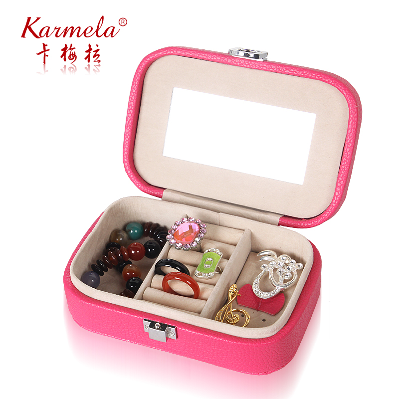 Grade pu small jewelry box korea european princess jewelry box portable travel jewelry storage box birthday gift