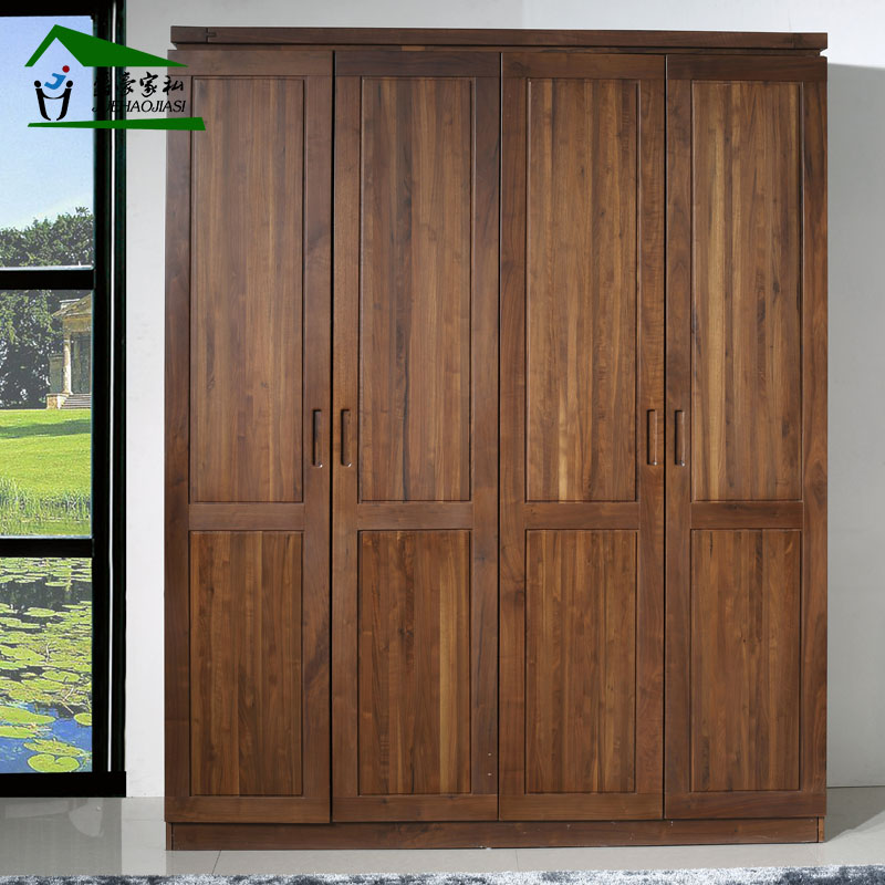 Grand ho pure north american black walnut wood wardrobe closet full of solid wood furniture minimalist wardrobe whole wardrobe 4 door assembly