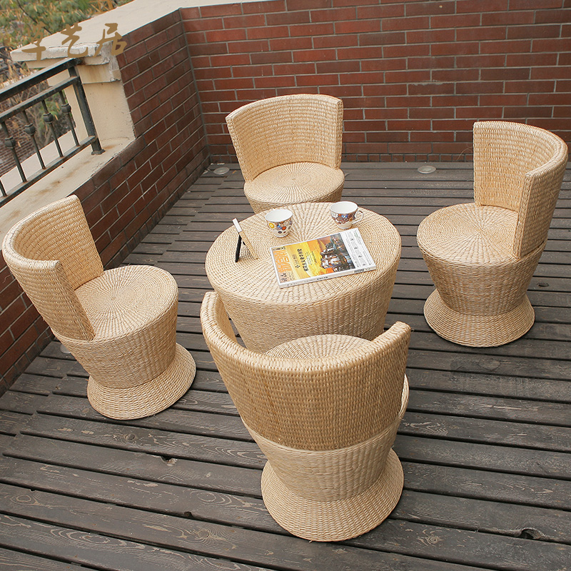 Grass arts habitat creative pastoral wood coffee table tatami straw rattan coffee table coffee table fashion jane about 5 sets of windows and coffee table