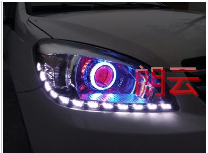 Great wall tengyi c30 front headlight assembly modified bifocal lens hid xenon lamp angel evil demon eye color tears