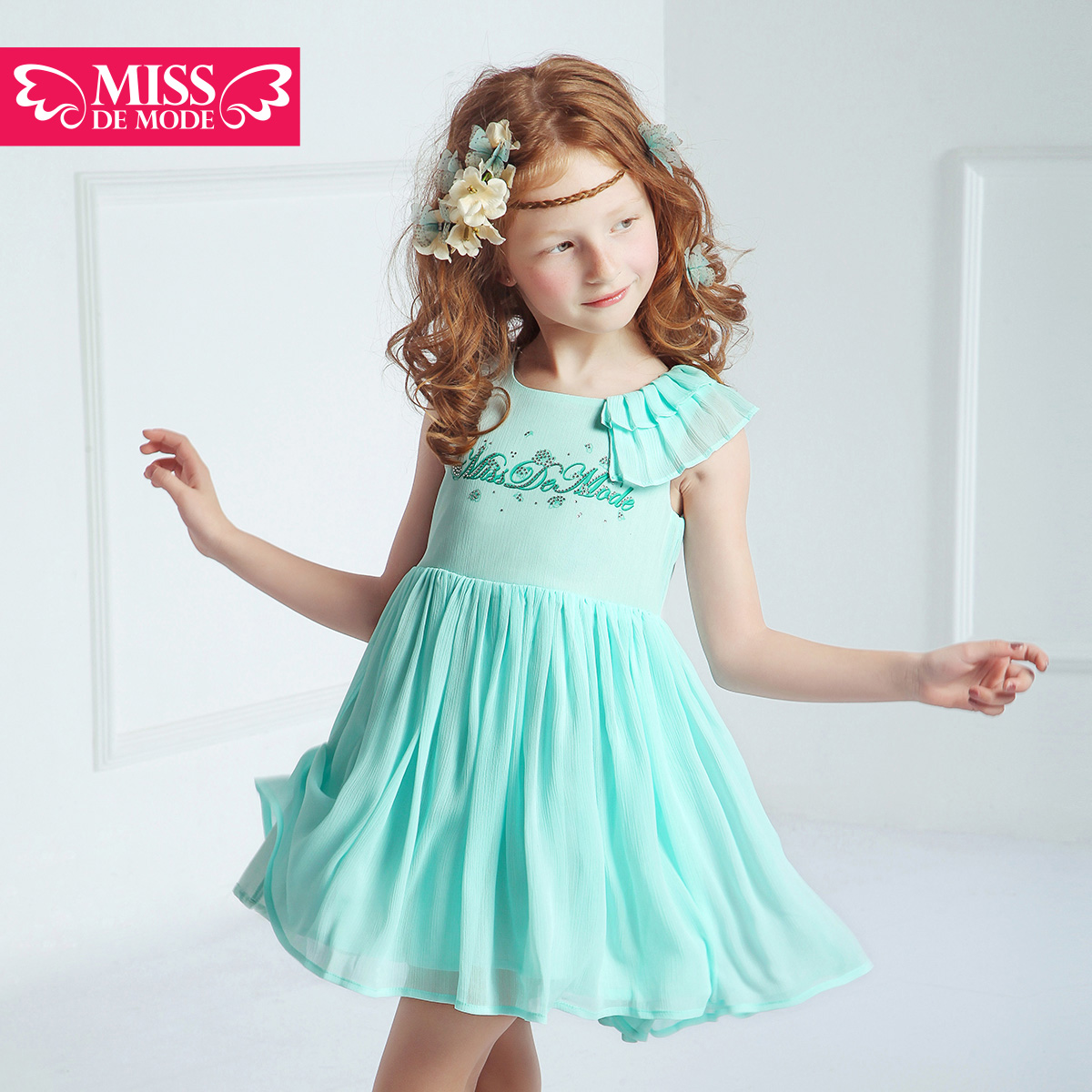 Green box modern miss kids 2016 summer new girls chiffon sleeveless round neck dress