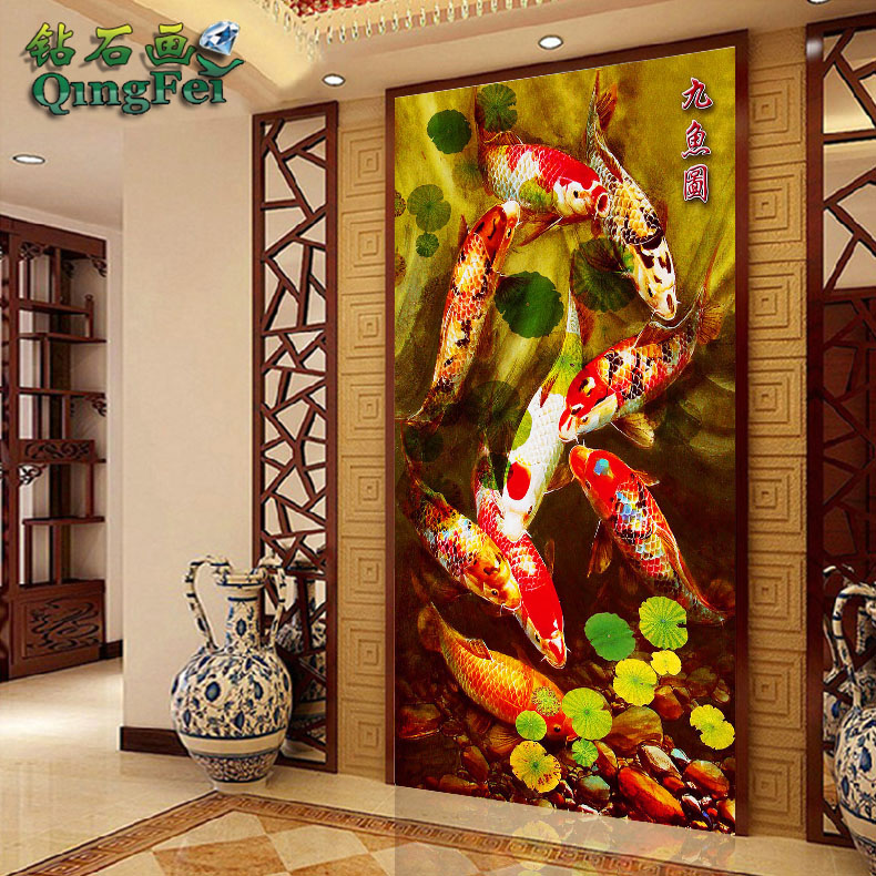 Green fly precision printed cloth vertical version of nine fish figure diamond draw nine fish enrichment nine fish gather life square Full diamond diamond draw