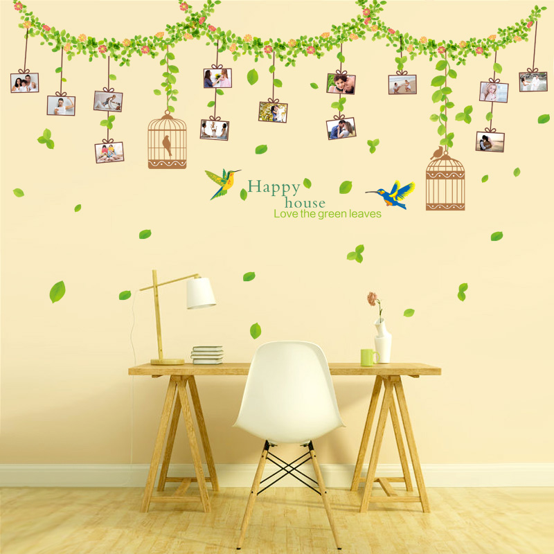 Green leaf klimts removable wall stickers living room sofa tv backdrop bedroom wall stickers photo stickers photo paper green vine