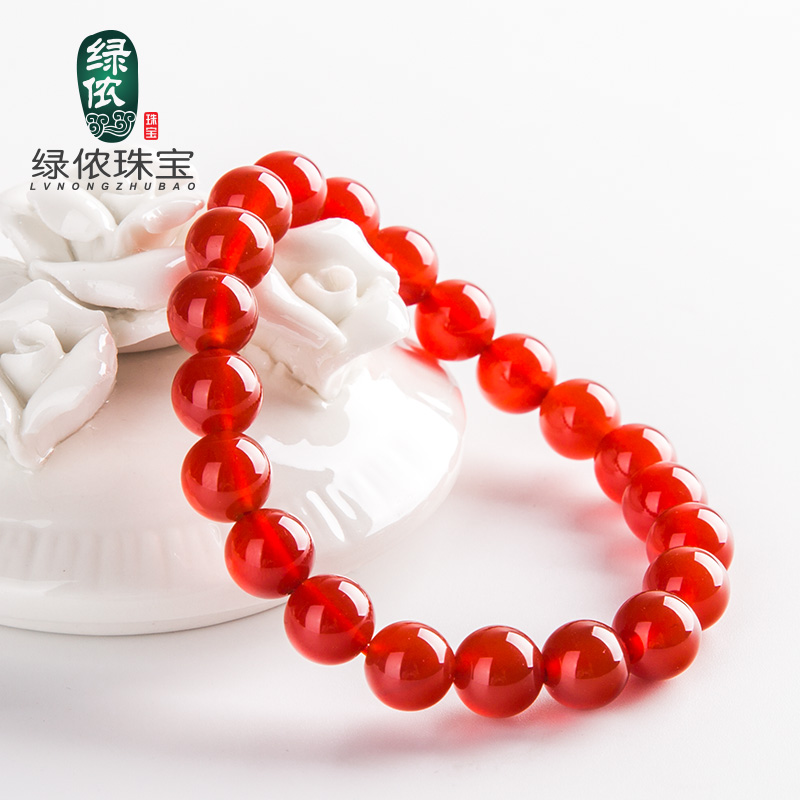 Green lennon natural red agate bracelet beads bracelets lap crystal jewelry for men and women natal year transporter birthday gift