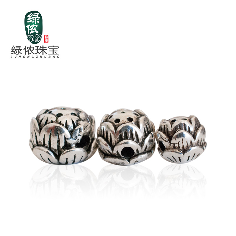 Green lennon s925 silver three-dimensional lotus cross hole silver spacer beads loose beads prayer beads bracelet jewelry diy accessories material