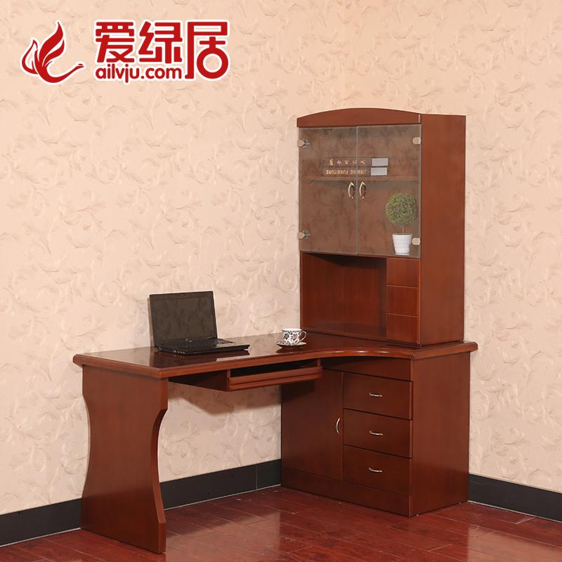 Green living love new chinese rubber wood furniture wood furniture wood computer desk with bookcase desk corner computer desk