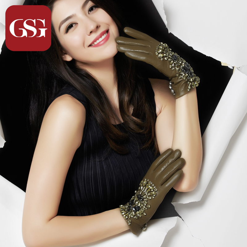 Gsg leather gloves female models can be customized handmade diamond dinner will be a short paragraph points finger leather gloves manicure thin pre-2015