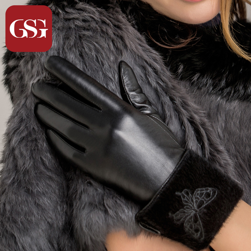 b92666b45eb29 Buy Gsg leather gloves manicure bow girls long leather gloves warm winter  sheepskin gloves points finger in Cheap Price on Alibaba.com