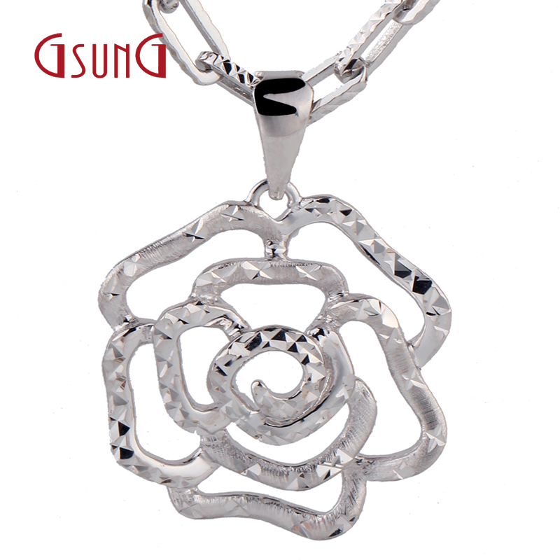 Gsung kyrgyzstan kyrgyzstan pt950 platinum platinum boutique wild hollow flower pendant necklace pendant ms. denominated