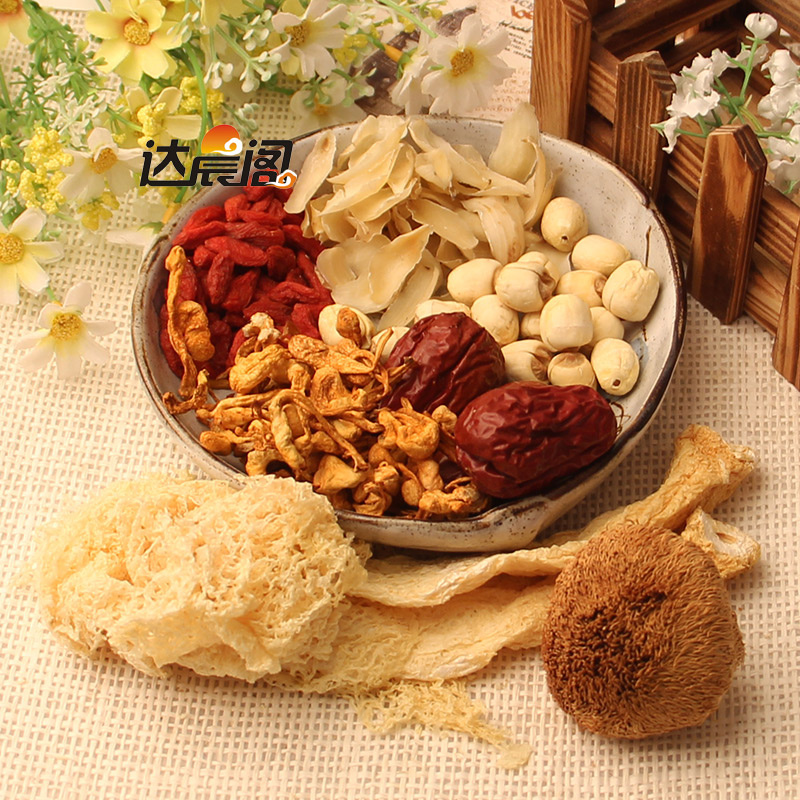 Guangdong old fire soup soup soup feed hericium bamboo fungus cordyceps flower soup material family stew soup stew soup ingredients